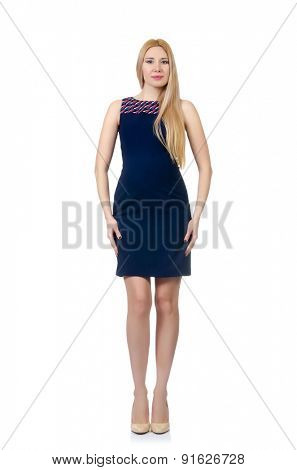 Beautiful pregnant woman in blue dress isolated on white