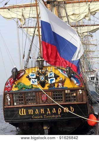 Flag At The Stern Of The Russian Frigate Shtandard