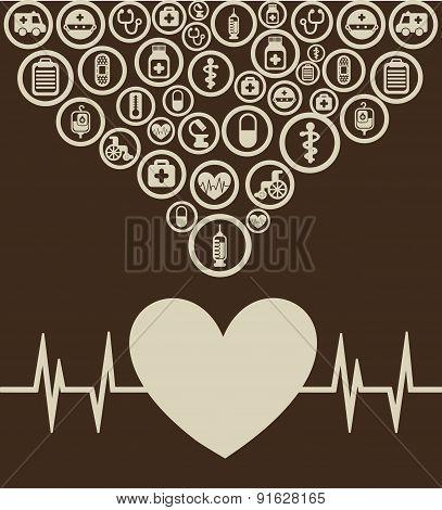 Medical design over brown background vector illustration