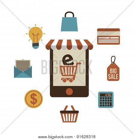 E-commerce design over white background vector illustration
