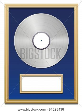 Platinum Certified Platin Record Plaque Blank Frame