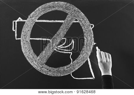 No violence concept drawing on blackboard