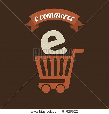 E-commerce design over brown background vector illustration