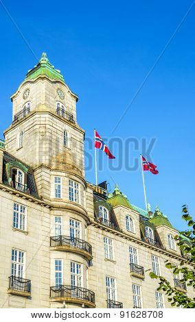 Grand Hotel with Norwegian flags in Oslo, Norway