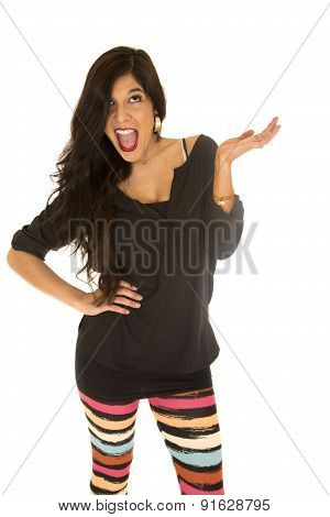 Cute Woman With Fun Expression Her Hand Up And Mouth Open