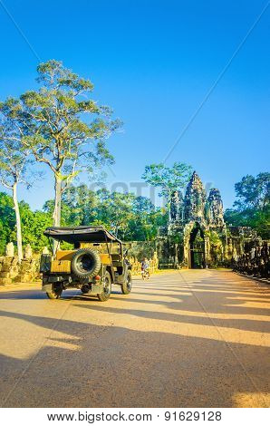 Military car on path of temple Angkor Wat Cambodia