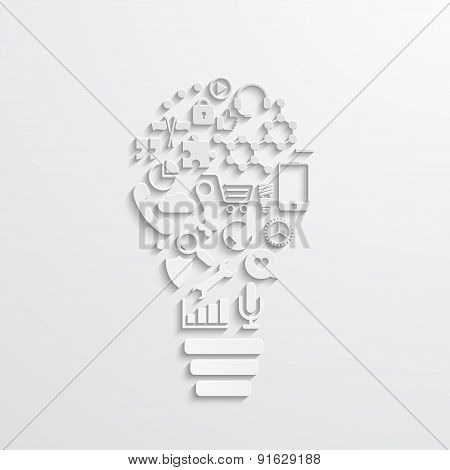 Vector modern lightbulb of the icons.