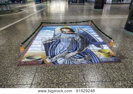 Floor Painting Of Holy Mary As Angel