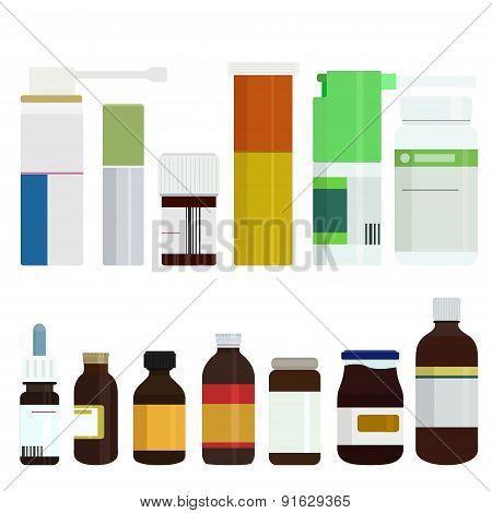 Vector modern medicine bottles set