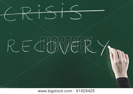 recovery concept written on blackboard