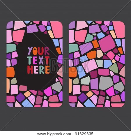 Mosaic card templates on black background