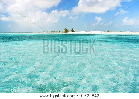 Soft Wave Of The Sea On The Sandy Beach. Blue Sky, White Sand And Place For Text. Cuba.