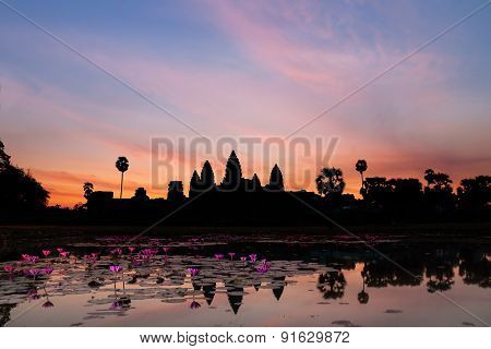 Sunrise In Angkor Wat, A Temple Complex In Cambodia And The Largest Religious Monument In The World.