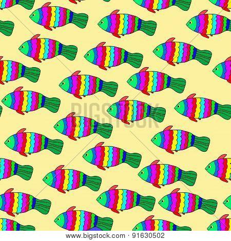 Multicolored fishes.