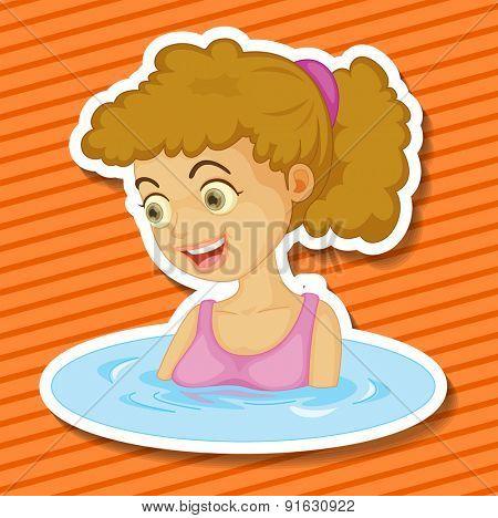 Closeup happy woman taking a bath