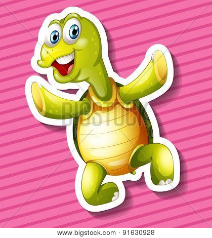 Closeup happy turtle on pink background