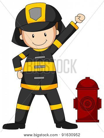Closeup fireman in protective clothes