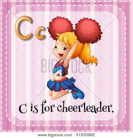 Flashcard letter C is for cheerleader