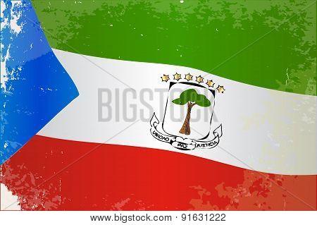 Equatorial Guinea Flag Grunge