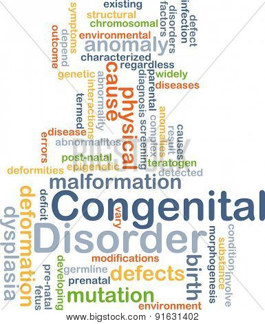 Background concept wordcloud illustration of congenital disorder