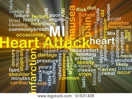 Background concept wordcloud illustration of heart attack glowing light