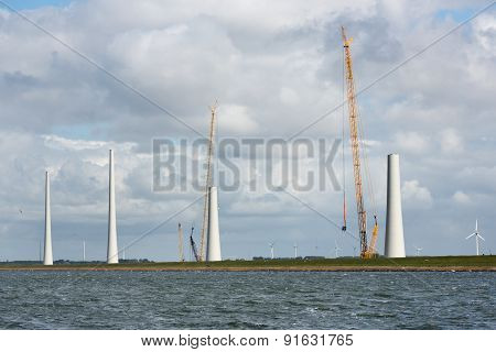 Dutch Construction Site Building Wind Turbines Seen From The Sea