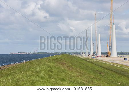 Dutch Construction Site Building Wind Turbines Near Urk