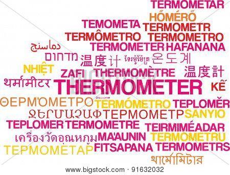 Background concept wordcloud multilanguage international many language illustration of thermometer