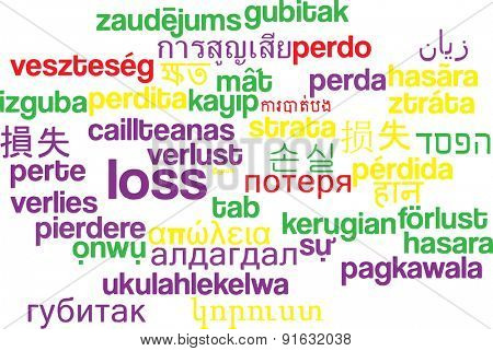 Background concept wordcloud multilanguage international many language illustration of loss