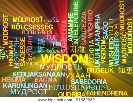 Background concept wordcloud multilanguage international many language illustration of wisdom glowing light