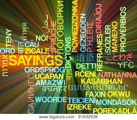 Background concept wordcloud multilanguage international many language illustration of sayings glowing light