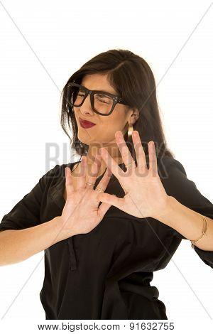 Woman Wearing Black Glasses Pushing Hands Away Eyes Closed