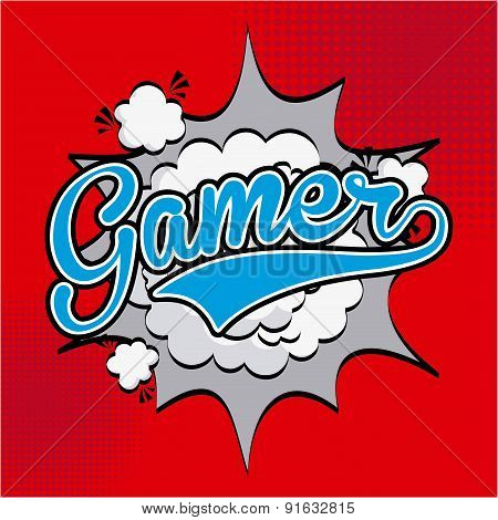 Video game design over red background vector illustration