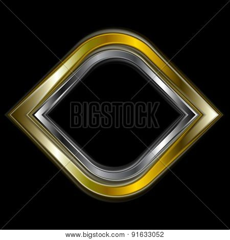 Bright gold and silver metal logo shape. Vector design
