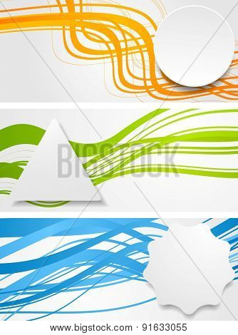 Abstract wavy banners with geometric labels. Vector design