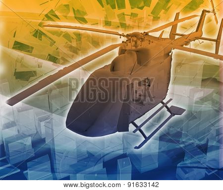Abstract background digital collage concept illustration helicopter evac evacuation