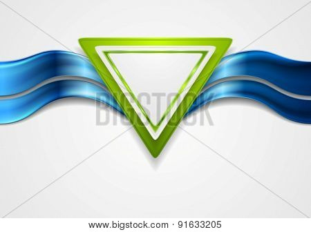 Abstract tech background with triangle and waves. Vector design