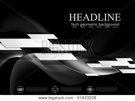 Dark abstract tech wavy background. Geometric vector design