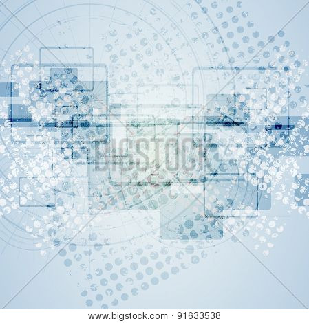 Abstract blue grunge tech background. Vector design