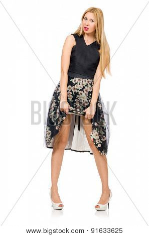 Woman in floral dark skirt isolated on white