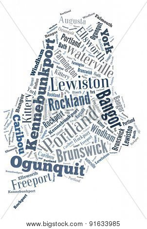 Word Cloud in the shape of Maine showing some of the cities in the state