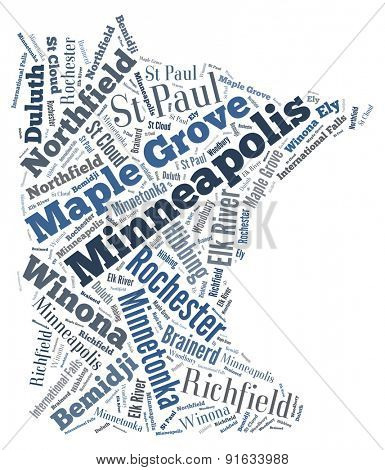 Word Cloud in the shape of Minnesota showing some of the cities in the state
