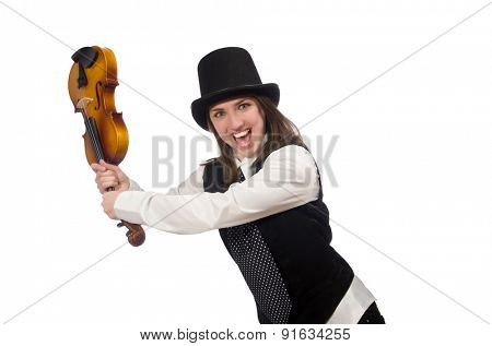 Woman violin player isolated on white