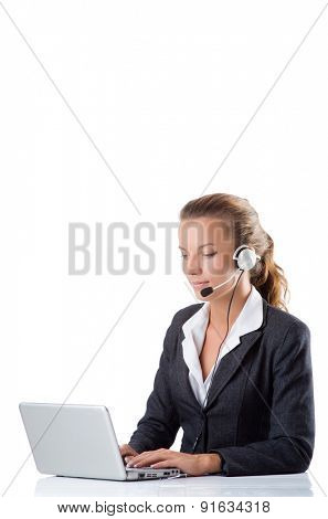 Office manager typing on the laptop isolated on white