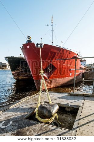 Dry Cargo Ships Docked At Quay Lieutenant Schmidt In St. Petersburg, Russia