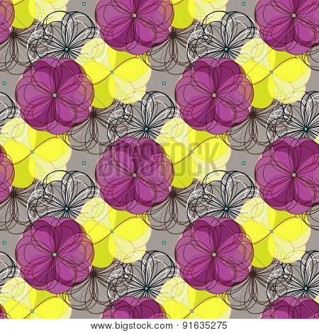 Geometric Abstract Floral Seamless Pattern Background. Colorful Shapes Composition