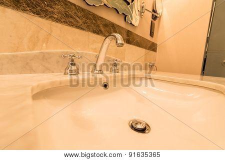 Modern elegant sink in bathroom