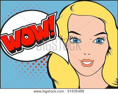 Smiling woman face with open mouth. WOW bubble and expression.  illustration