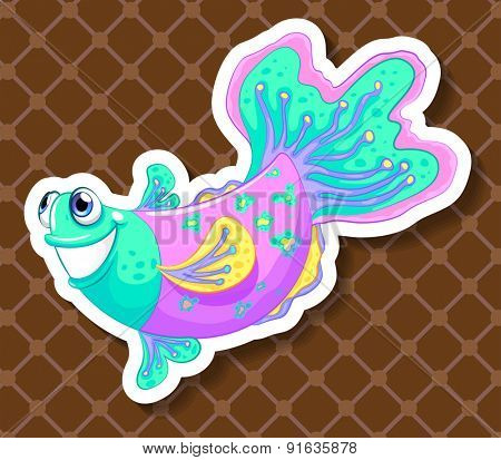 Closeup colorful fish swimming on brown background