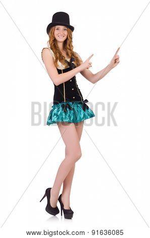 Female model isolated on the white background